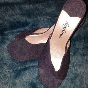 Shoes - GENTLY WORN Medium Wash Denim Sandals
